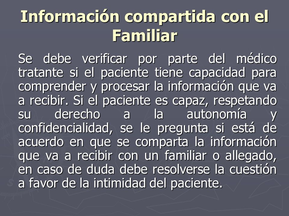 Información compartida con el Familiar
