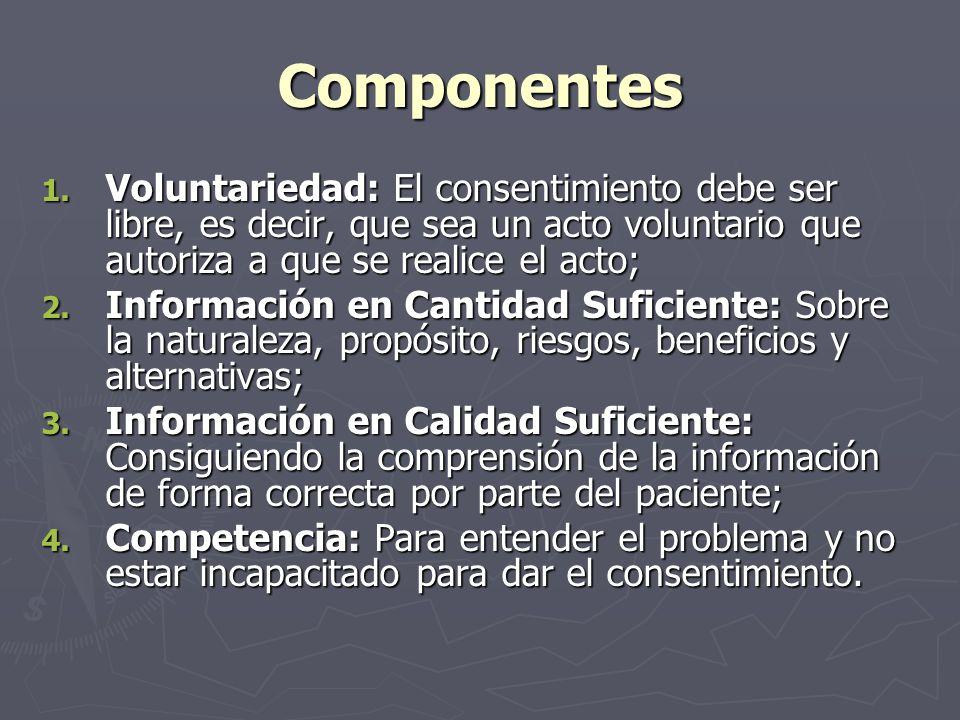 Componentes Voluntariedad: El consentimiento debe ser libre, es decir, que sea un acto voluntario que autoriza a que se realice el acto;
