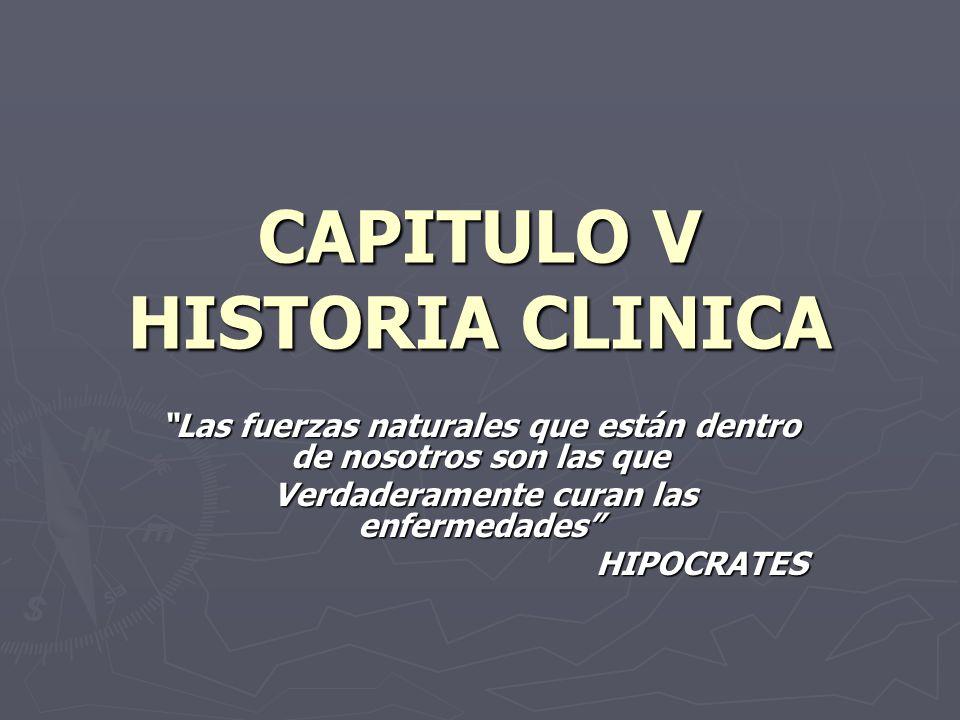 CAPITULO V HISTORIA CLINICA