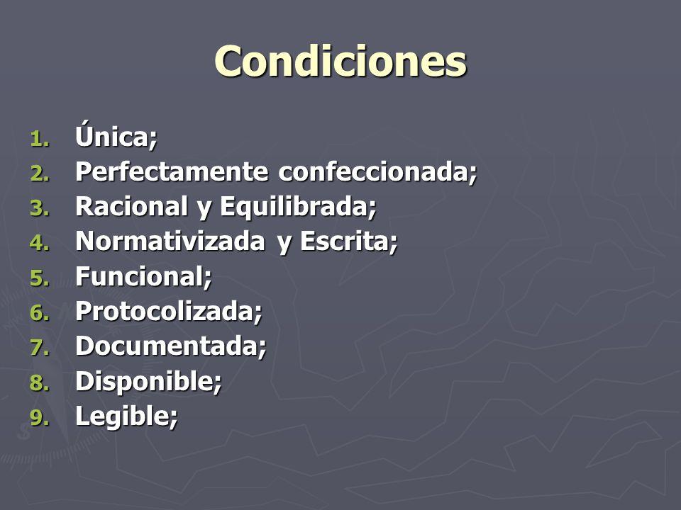 Condiciones Única; Perfectamente confeccionada;