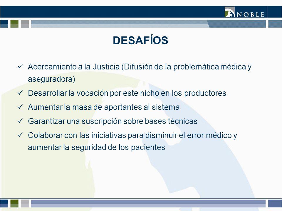 DESAFÍOS Acercamiento a la Justicia (Difusión de la problemática médica y aseguradora) Desarrollar la vocación por este nicho en los productores.