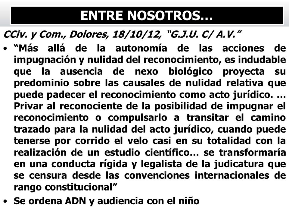 ENTRE NOSOTROS… CCiv. y Com., Dolores, 18/10/12, G.J.U. C/ A.V.
