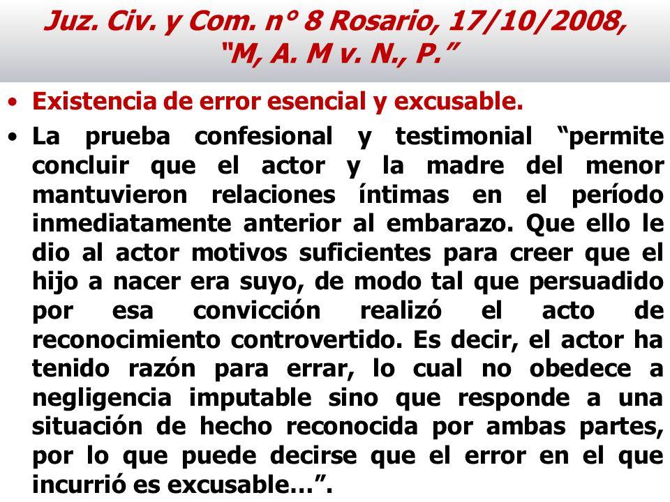 Juz. Civ. y Com. n° 8 Rosario, 17/10/2008, M, A. M v. N., P.