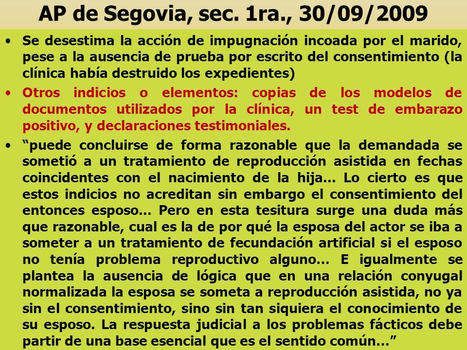 AP de Segovia, sec. 1ra., 30/09/2009