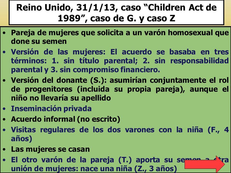 Reino Unido, 31/1/13, caso Children Act de 1989 , caso de G. y caso Z