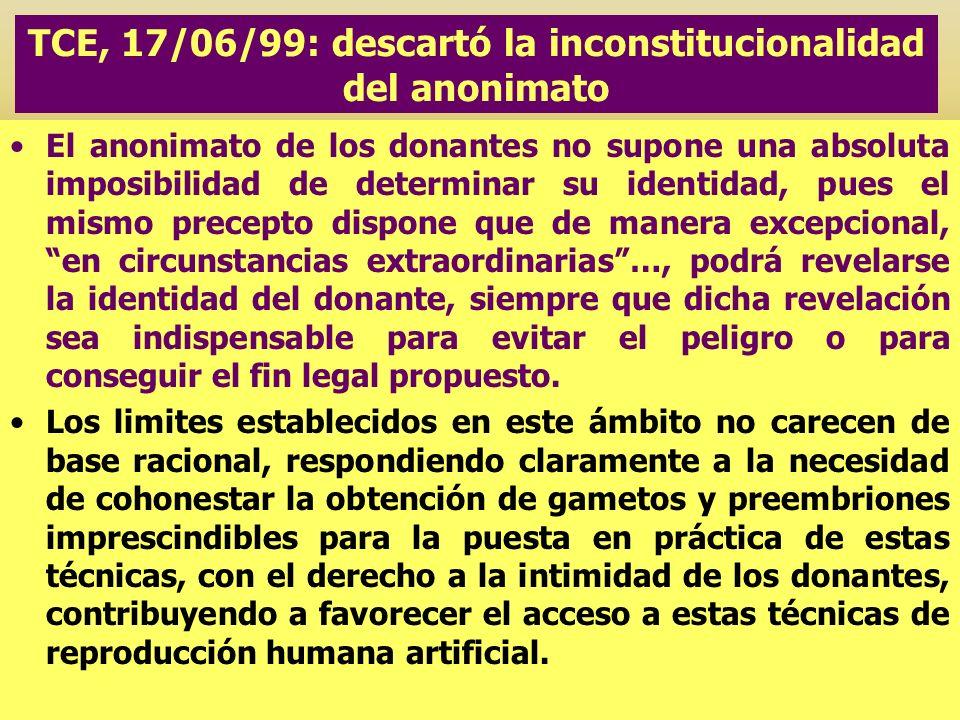 TCE, 17/06/99: descartó la inconstitucionalidad del anonimato