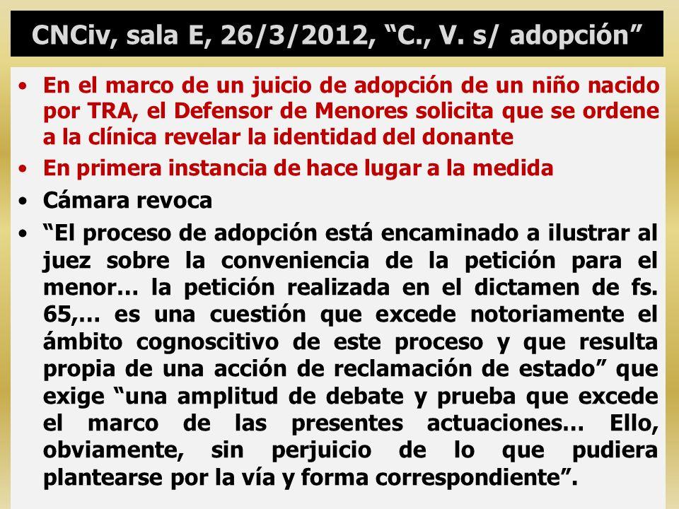 CNCiv, sala E, 26/3/2012, C., V. s/ adopción
