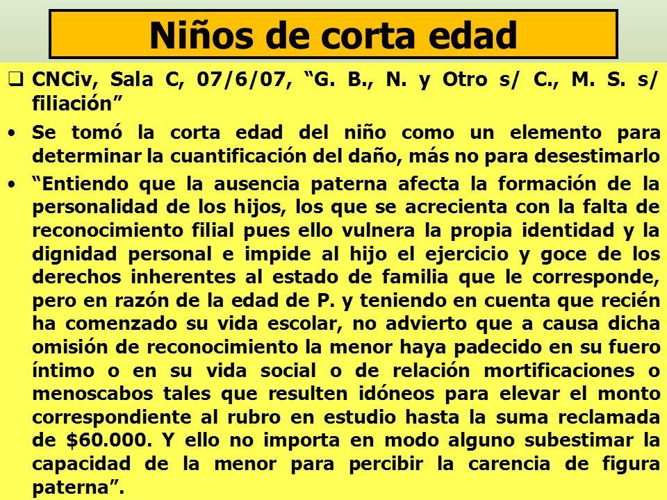 Niños de corta edad CNCiv, Sala C, 07/6/07, G. B., N. y Otro s/ C., M. S. s/ filiación