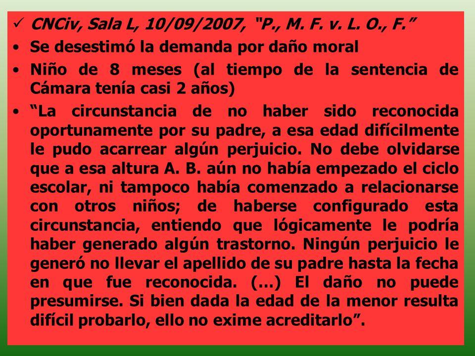CNCiv, Sala L, 10/09/2007, P., M. F. v. L. O., F.