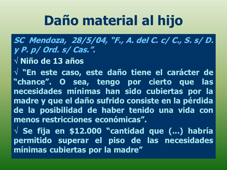 Daño material al hijo SC Mendoza, 28/5/04, F., A. del C. c/ C., S. s/ D. y P. p/ Ord. s/ Cas. .  Niño de 13 años.