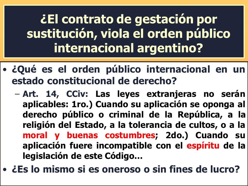 ¿El contrato de gestación por sustitución, viola el orden público internacional argentino