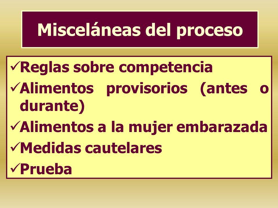 Misceláneas del proceso