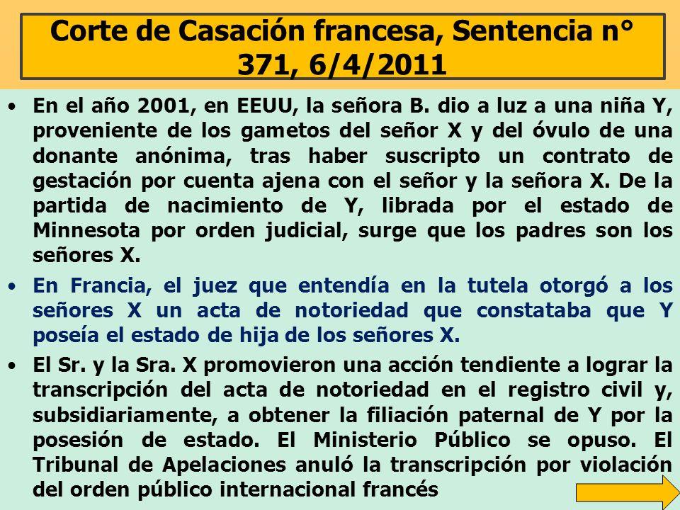 Corte de Casación francesa, Sentencia n° 371, 6/4/2011