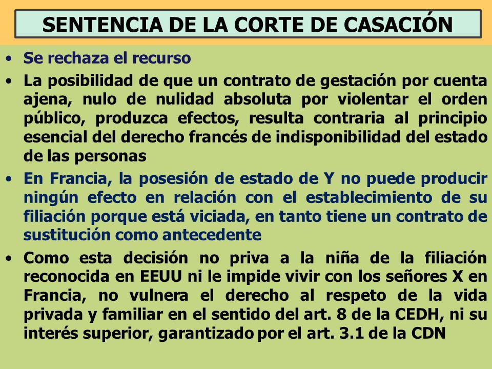 SENTENCIA DE LA CORTE DE CASACIÓN