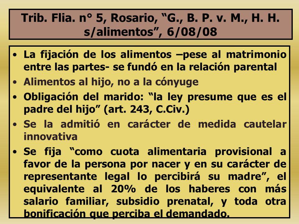 Trib. Flia. n° 5, Rosario, G. , B. P. v. M. , H. H