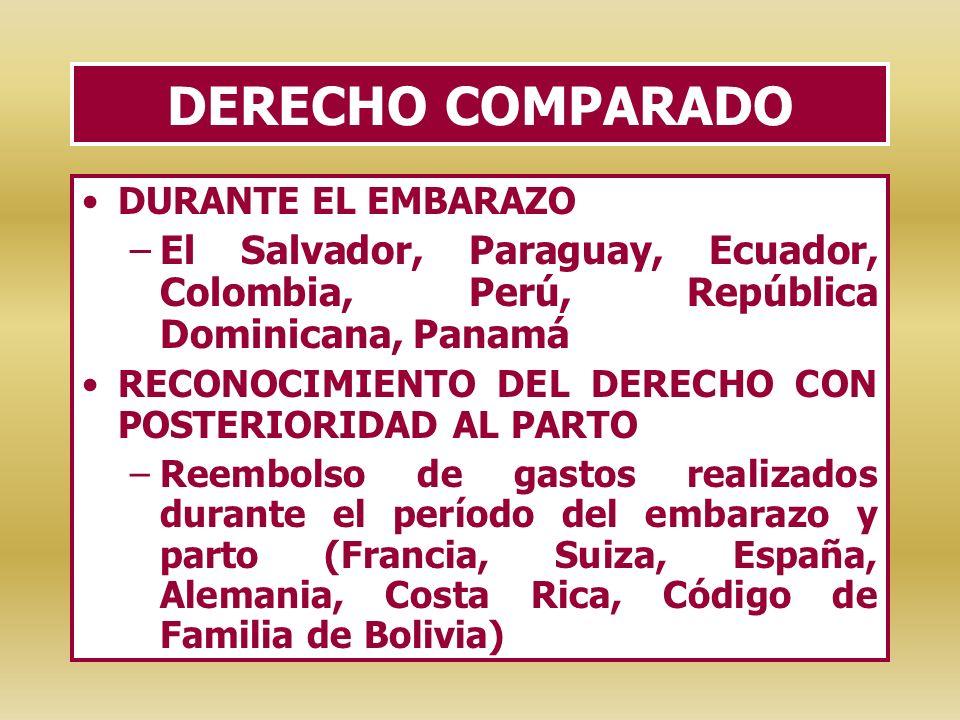 DERECHO COMPARADO DURANTE EL EMBARAZO. El Salvador, Paraguay, Ecuador, Colombia, Perú, República Dominicana, Panamá.
