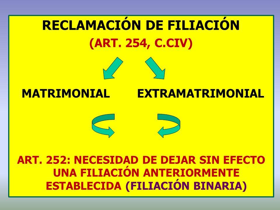 reclamación de filiación MATRIMONIAL EXTRAMATRIMONIAL