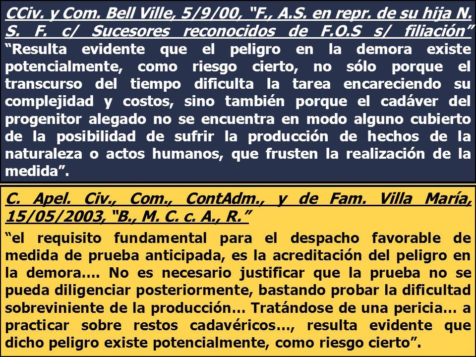 CCiv. y Com. Bell Ville, 5/9/00, F. , A. S. en repr. de su hija N. S