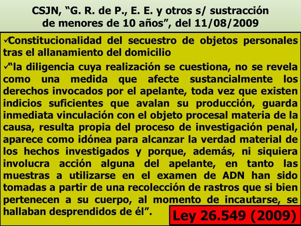 CSJN, G. R. de P., E. E. y otros s/ sustracción de menores de 10 años , del 11/08/2009