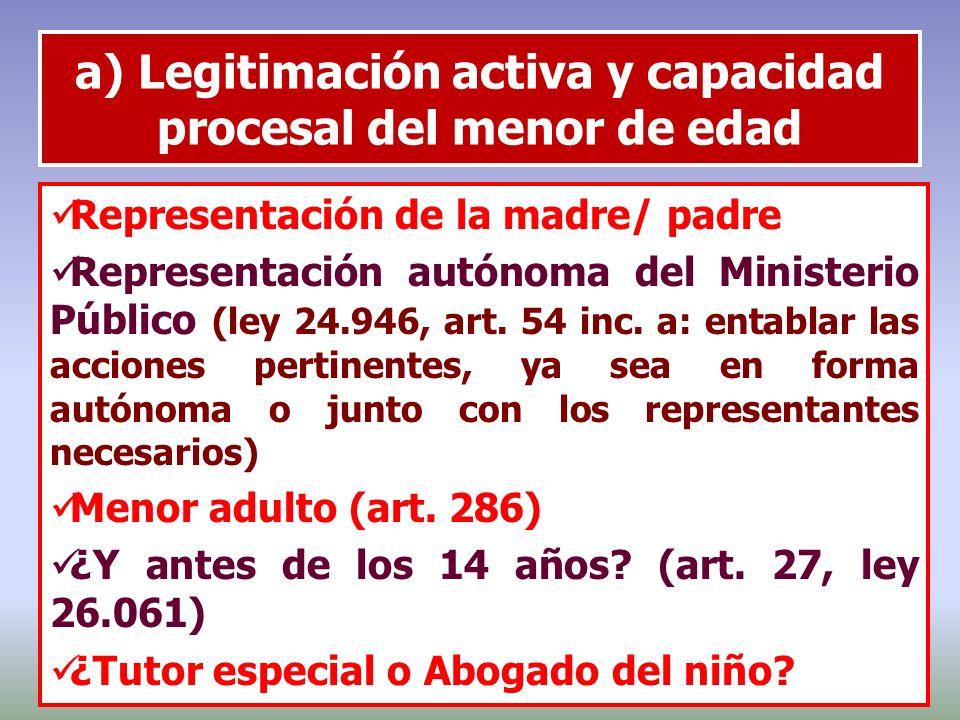 a) Legitimación activa y capacidad procesal del menor de edad