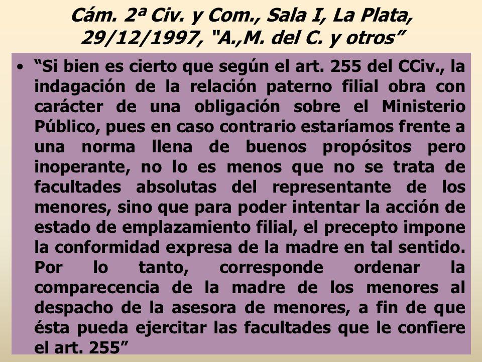 Cám. 2ª Civ. y Com. , Sala I, La Plata, 29/12/1997, A. ,M. del C