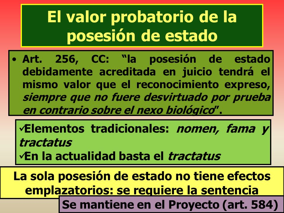 El valor probatorio de la posesión de estado