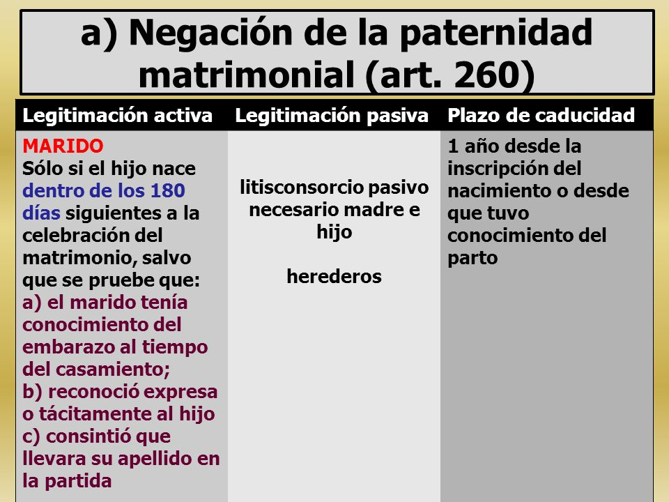a) Negación de la paternidad matrimonial (art. 260)