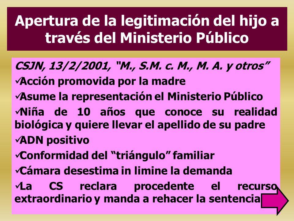 Apertura de la legitimación del hijo a través del Ministerio Público