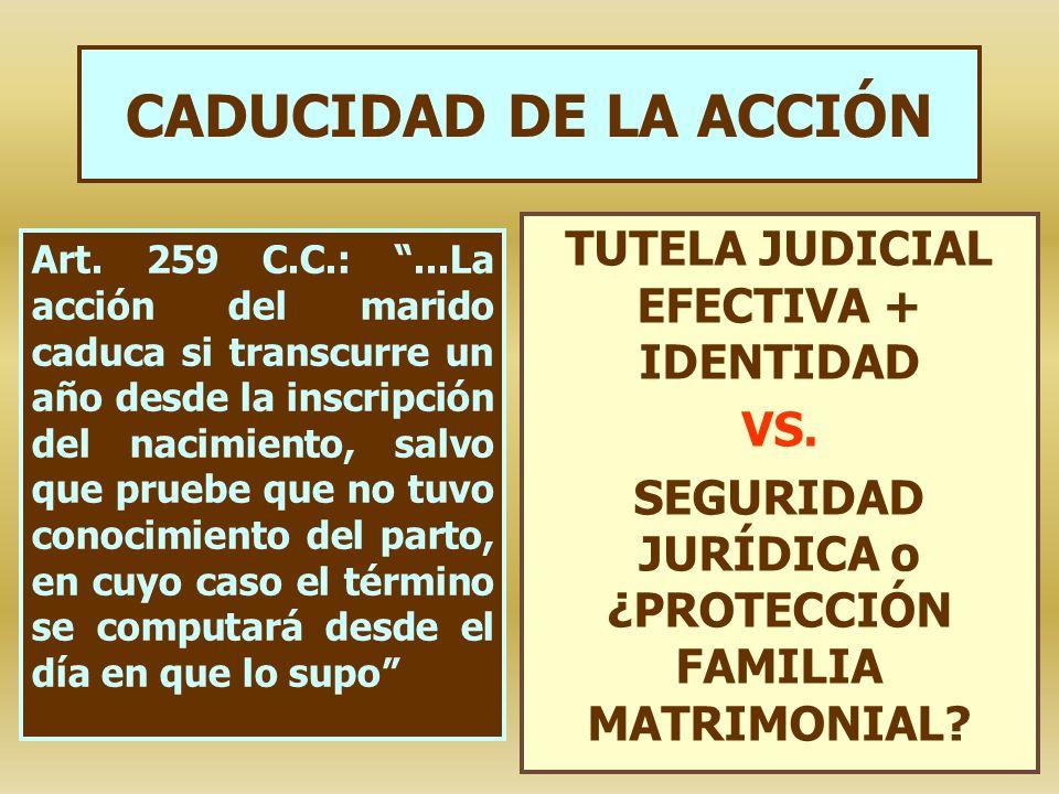 CADUCIDAD DE LA ACCIÓN TUTELA JUDICIAL EFECTIVA + IDENTIDAD VS.