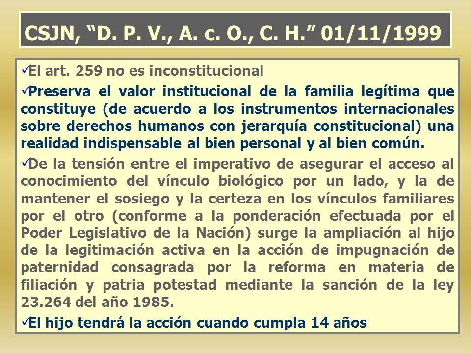 CSJN, D. P. V., A. c. O., C. H. 01/11/1999 El art. 259 no es inconstitucional.