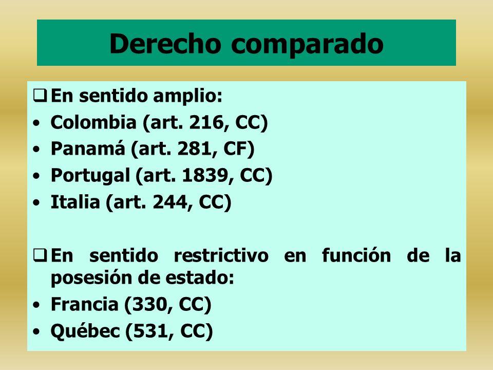 Derecho comparado En sentido amplio: Colombia (art. 216, CC)