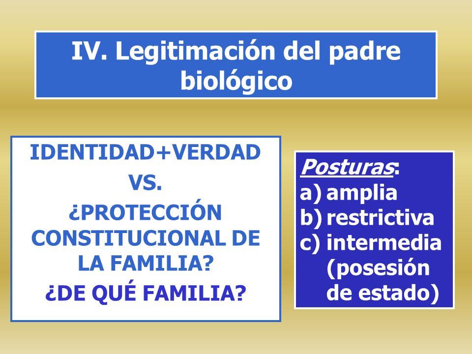 IV. Legitimación del padre biológico