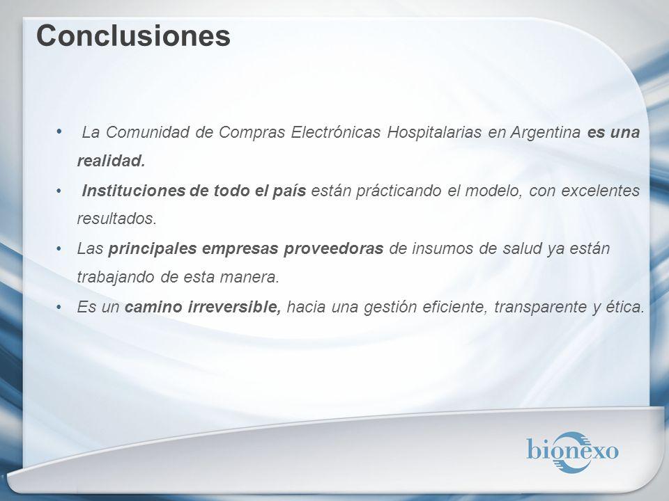 Conclusiones La Comunidad de Compras Electrónicas Hospitalarias en Argentina es una realidad.