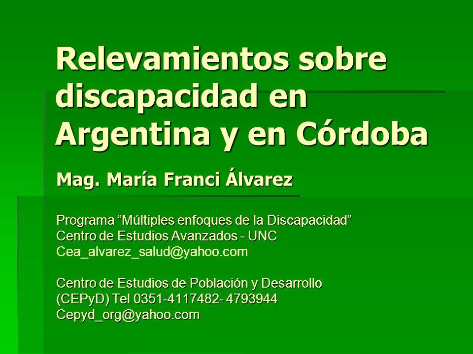 Relevamientos sobre discapacidad en Argentina y en Córdoba