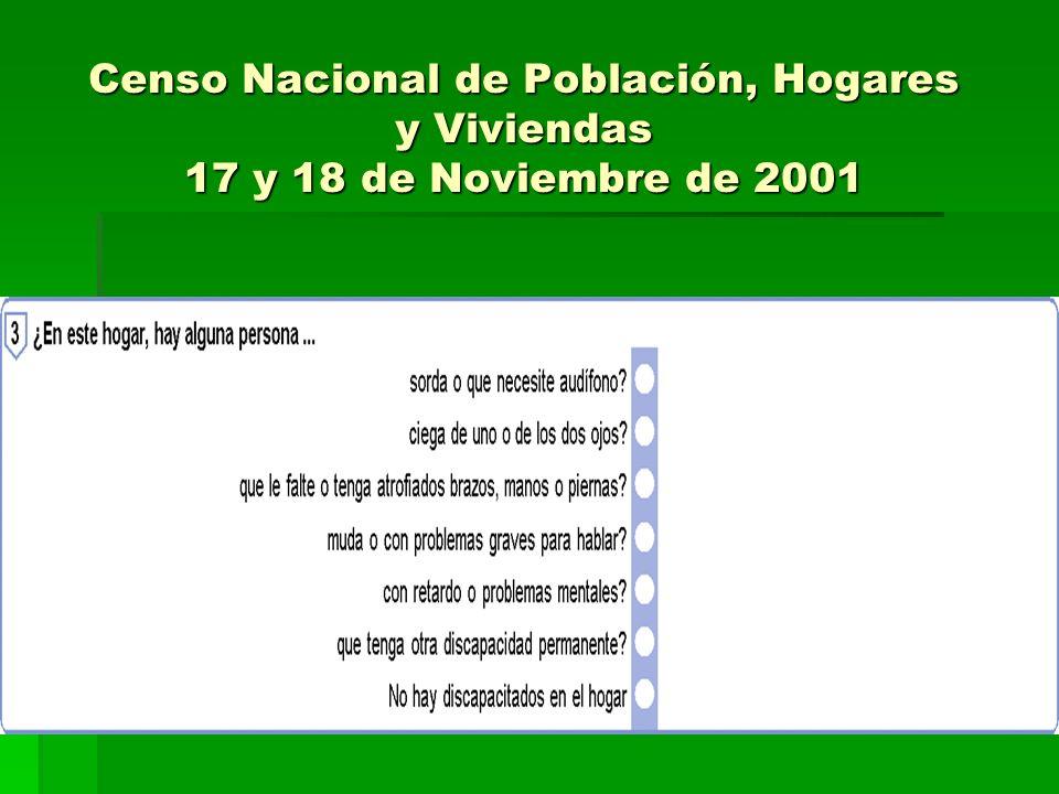 Censo Nacional de Población, Hogares y Viviendas 17 y 18 de Noviembre de 2001