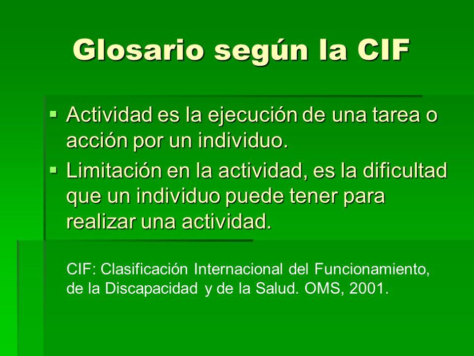 Glosario según la CIF Actividad es la ejecución de una tarea o acción por un individuo.