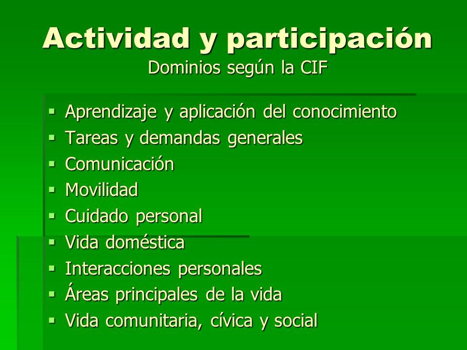 Actividad y participación Dominios según la CIF