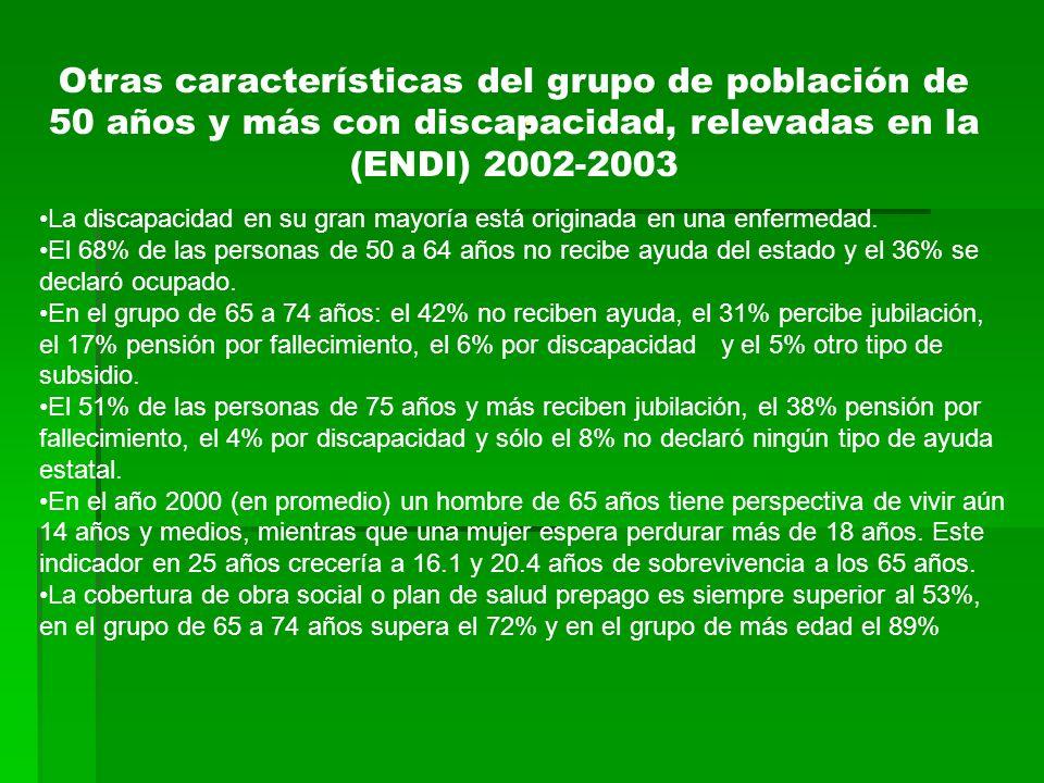 . Otras características del grupo de población de 50 años y más con discapacidad, relevadas en la (ENDI) 2002-2003.