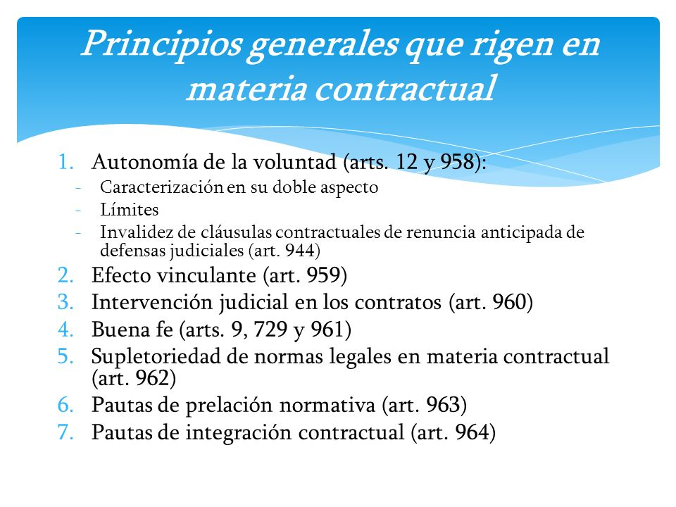 Principios generales que rigen en materia contractual