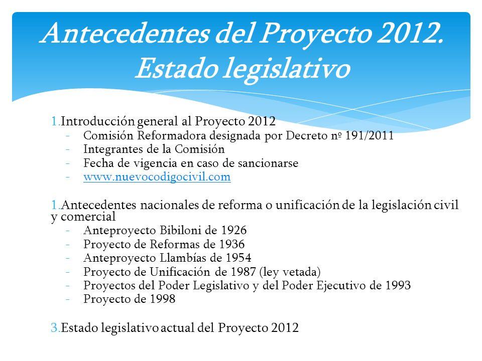 Antecedentes del Proyecto 2012. Estado legislativo