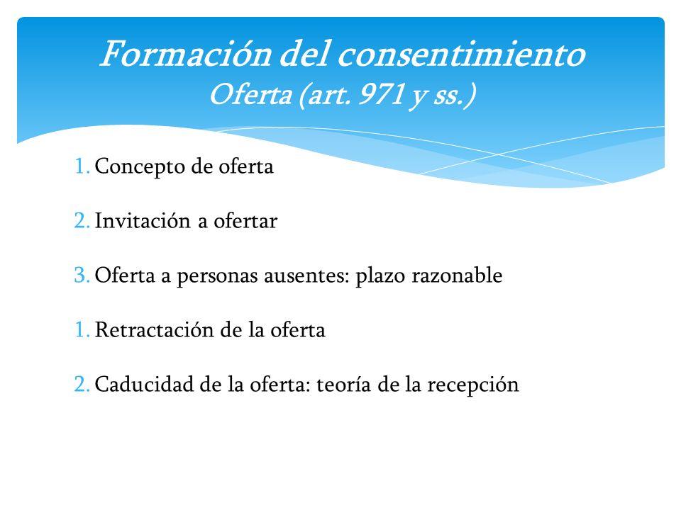 Formación del consentimiento Oferta (art. 971 y ss.)