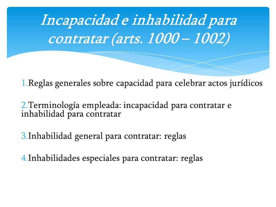 Incapacidad e inhabilidad para contratar (arts. 1000 – 1002)