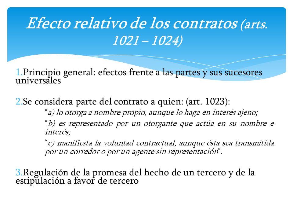 Efecto relativo de los contratos (arts. 1021 – 1024)