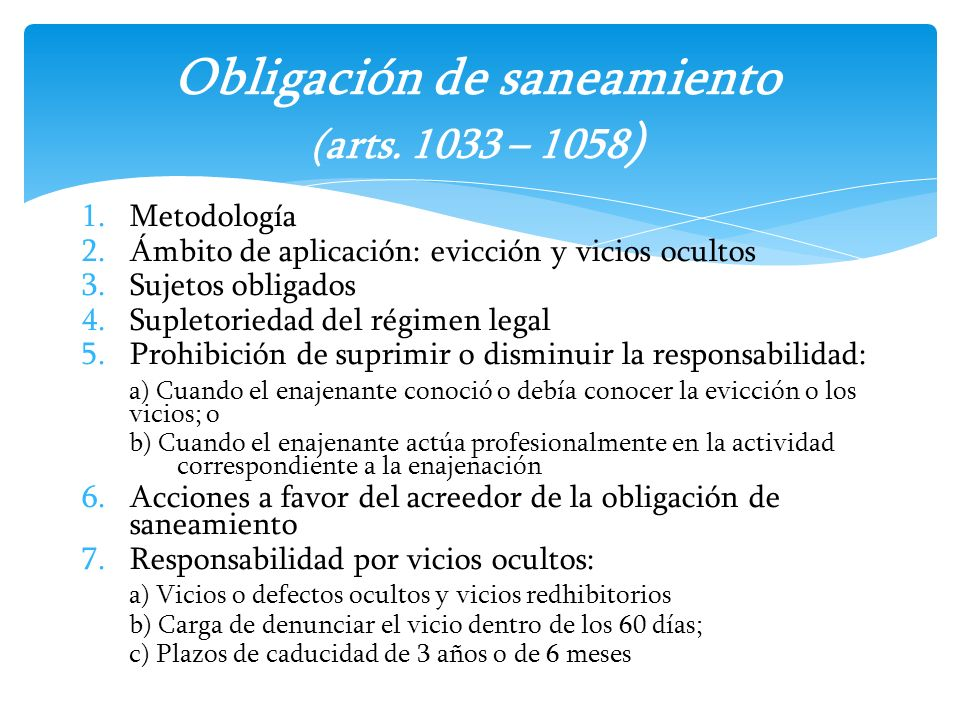 Obligación de saneamiento (arts. 1033 – 1058)