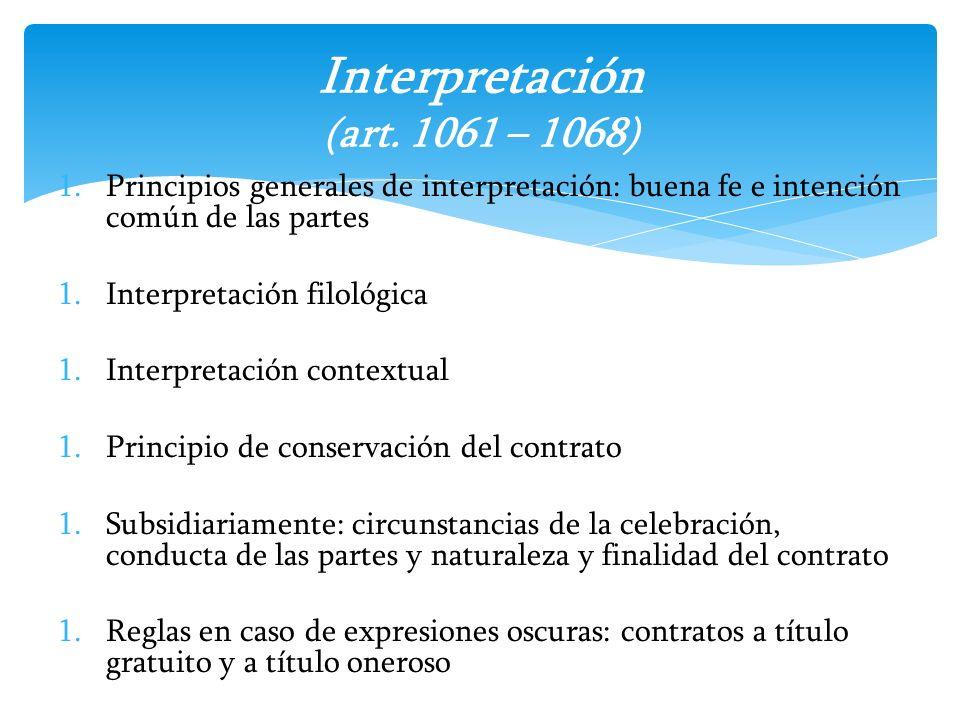 Interpretación (art. 1061 – 1068)