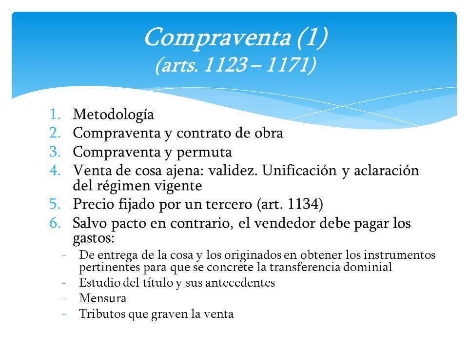 Compraventa (1) (arts. 1123 – 1171)