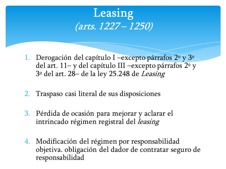 Leasing (arts. 1227 – 1250)