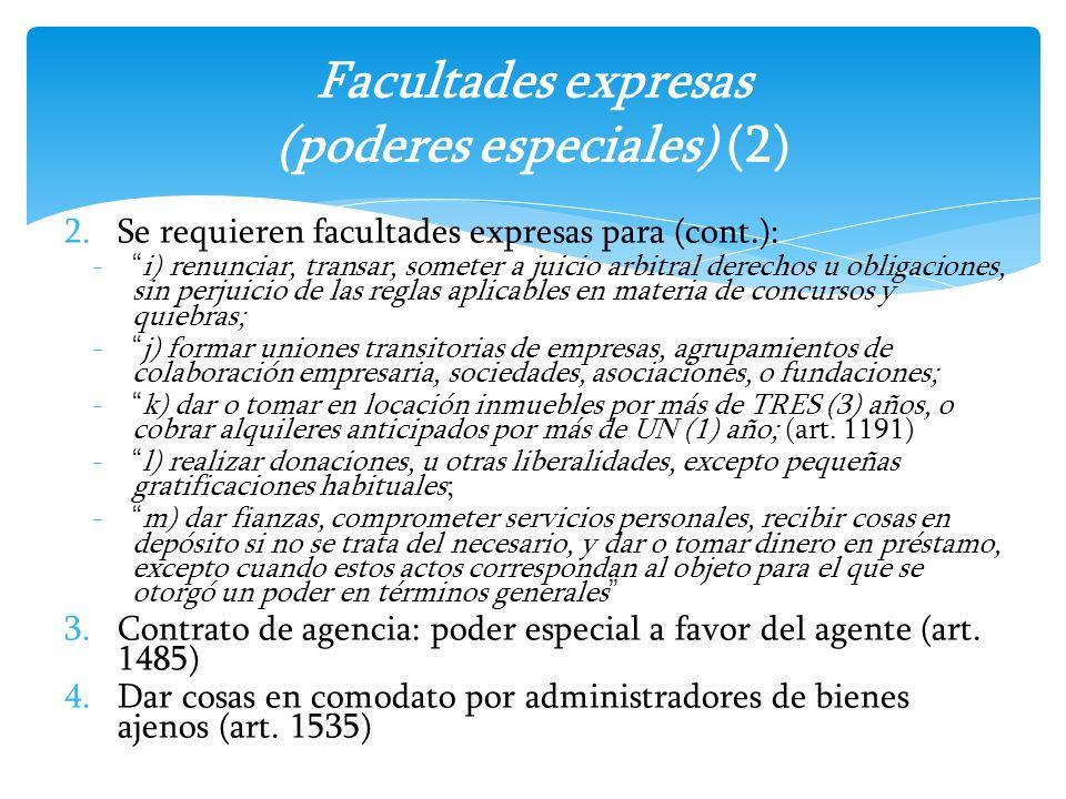 Facultades expresas (poderes especiales) (2)