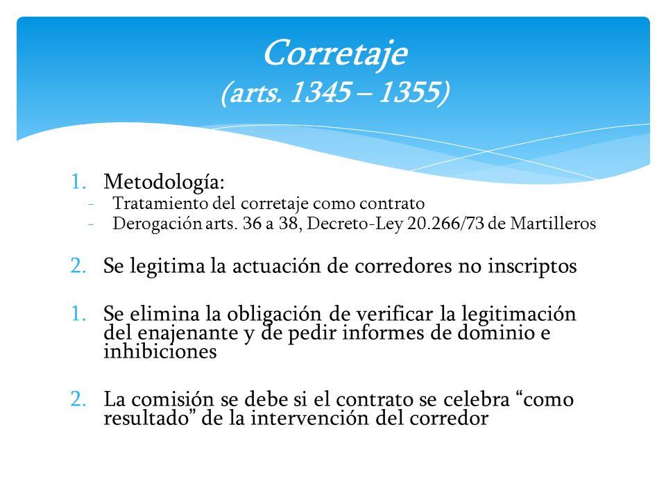 Corretaje (arts. 1345 – 1355) Metodología: