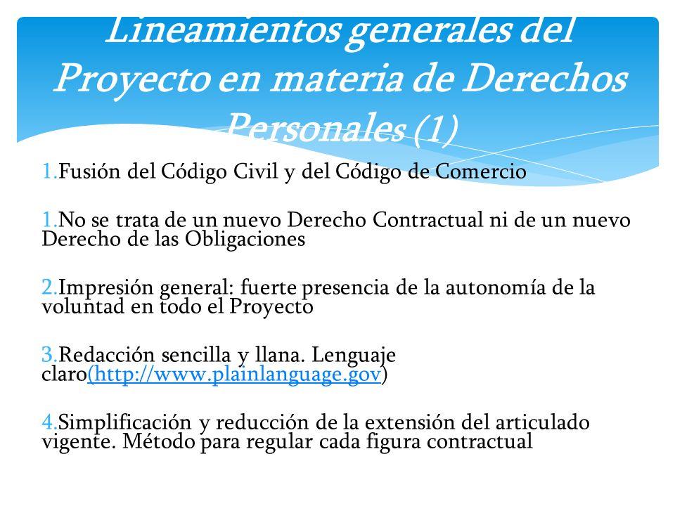 Lineamientos generales del Proyecto en materia de Derechos Personales (1)